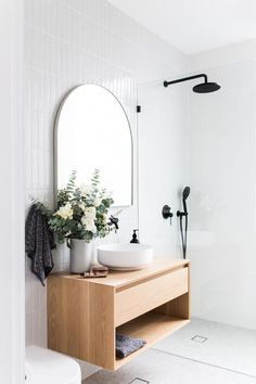 neutral Bathroom Decor minimalist bathroom design with modern floating vanity with modern vessel sink and modern tile, modern white subway tile vertical with modern bathroom mirror in neutral bathroom design Minimalist Bathroom Design, Minimal Bathroom, Bathroom Interior Design, Home Interior, Interior Colors, Interior Modern, Interior Ideas, Modern Bathroom Mirrors, Beautiful Bathrooms