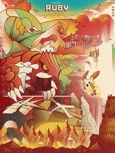 Pokemon Ruby And Sapphire - Marinko Milosevski Illustration and Design Pokemon Memes, Pokemon Fan, Pokemon Stuff, Fire Pokemon, Lugia, Sapphire Pokemon, Pokemon Poster, Video Game Posters, Original Pokemon