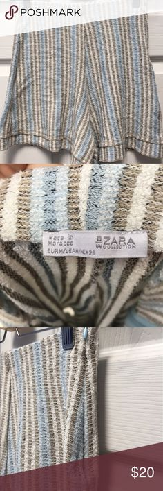 High Waisted Pastel Striped Zara Shorts Super cute, beachy high waisted, woven fabric shorts from Zara. Very soft and comfortable, has some tearing by the zipper area which is mostly due to the thinness of the woven material. Very flattering fit. Zara Shorts