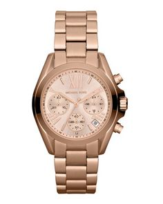 Michael Kors  Mid-Size Rose Golden Stainless Steel Bradshaw Chronograph Watch.