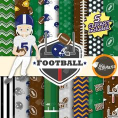 SALE Football Digital Paper  Clipart : Football Paper by DGexpress