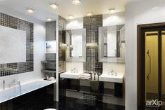Черно-белый интерьер: интерьер, зd визуализация, квартира, дом, санузел, ванная, туалет, ар-деко, 10 - 20 м2, интерьер #interiordesign #3dvisualization #apartment #house #wc #bathroom #toilet #artdeco #10_20m2 #interior arXip.com