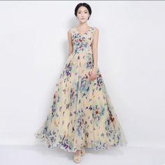 [VA]New 2014 women butterfly dress lacing expansion maxi dresses chiffon silk woman dress print women full length spring summer US $19.62