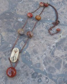 Agate and Rune Necklace by BazaarCharlotte on Etsy