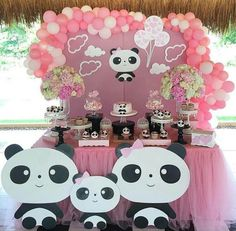 Panda Themed Party, Panda Birthday Party, Panda Party, 1st Birthday Girls, 1st Birthday Parties, Birthday Party Decorations, Party Themes, Panda Decorations, Balloon Decorations