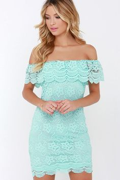 51f6a23c29d71 Islands in the Stream Mint Lace Off-the-Shoulder Dress at Lulus.com