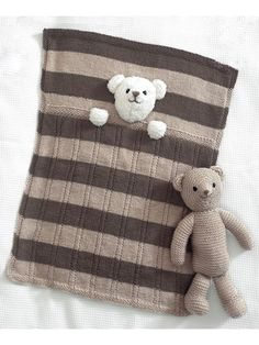 4005: Teddy Bear Blankets & Toy Knit Pattern from Annie's Craft Store. Order here: https://www.anniescatalog.com/detail.html?prod_id=141131&cat_id=469