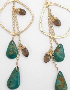 smoky quartz & turquoise earrings