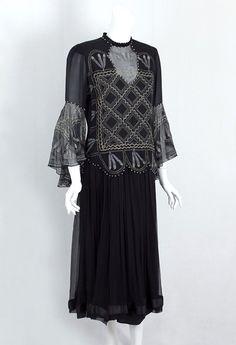 Zandra Rhodes printed silk chiffon dress, 1980s
