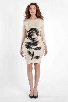 Sukienka ROZI Haft igłowany wełną z merynosów australijskich. Hit jesieni!