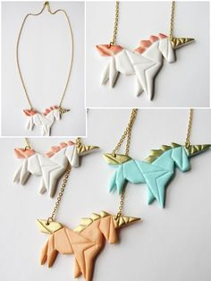 Handmade origami unicorn necklace made of polymer clay and brass chain. The origami unicorn jewelry is available in white peach and mint in the Mademoiselle Graphic store! Fimo Polymer Clay, Diy Fimo, Polymer Clay Animals, Polymer Clay Projects, Polymer Clay Jewelry, Clay Earrings, Clay Crafts, Diy Jewelry, Handmade Jewelry