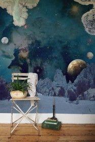 De La Terre a la Lune - From The Earth To The Moon Wallpaper By Elli Popp from Rockett St George Rockett St George Unique Wallpaper, Home Wallpaper, Wallpaper Designs, Wall Decor, Room Decor, Interior Decorating, Interior Design, Modern Interior, Designers Guild