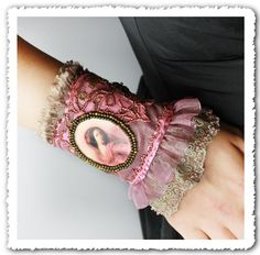 Victoriana // Shabby Chic Mixed Media Wearable Art Embroidered Cuff Bracelet OOAK