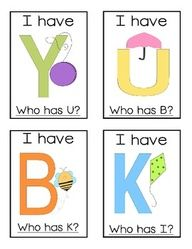 I Have, Who Has? Alphabet Game. can also do this with sight words and it works really well!