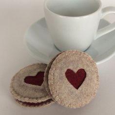Felt Food: 2 Hand Stitched Felt Heart Cut Raspberry Linzer Cookies -- children's pretend play, tea set, tea party, felt cookies or gift on Etsy, $16.00
