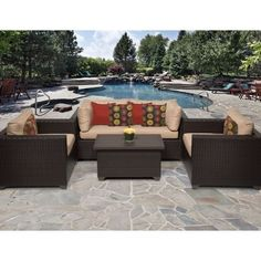 Miseno MPFBLLE05B Anabelle 5Piece Aluminum Framed Outdoor Conversation Set wit Wheat *** This is an Amazon Associate's Pin. Click the image to find out more on Amazon website.