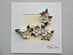Quilling Paper Flowers Apple blossom Wall art от PaperArtbyAda