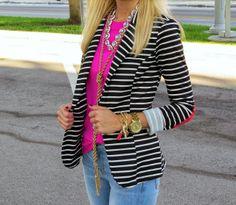 Crew Factory , Blazer: Sugar Love Boutique c/o also love this one, Jeans: Similar. Striped Blazer Outfit, Striped Jacket, Blazer Outfits, Blazer Jeans, Casual Work Outfits, Work Attire, Cute Outfits, Work Fashion, Fashion Outfits