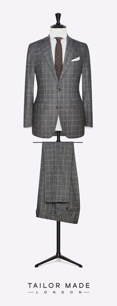 Tailor Made London 2-piece suit. Grey with Bright Grey windowpane