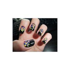 Black base with confetti nails Get Nails, Fancy Nails, Love Nails, How To Do Nails, Pretty Nails, Hair And Nails, Color Nails, Dot Nail Art, Polka Dot Nails