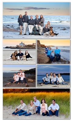 Family beach photos.  We need to do something like this.  I really like this idea for our family pictures.   I really like the bottom and lower right photos!