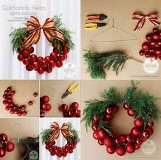 DIY Christmas Ornaments Wreath | Just look at photos or there are some instructions translated to English. Very easy and cheap!!