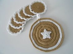 anas / Háčkované podšálky + chňapka Crochet Earrings, Jewelry, Jewlery, Jewerly, Schmuck, Jewels, Jewelery, Fine Jewelry, Jewel