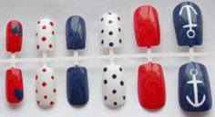 Red, White, and Blue Nautical Fake Nails - False, Artificial, Acrylic, Press-On on Etsy, $12.00