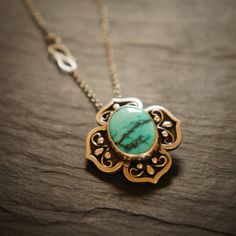 Turquoise Gemstone and Sterling Silver Lotus by SkydancerJewellery, £52.00