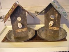 I make these bird feeders from old pie tins, license plates, barn wood, insulators & scrabble tiles.