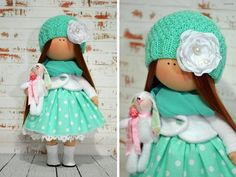 Nursery doll Interior doll Rag doll Art doll Handmade doll Green doll Tilda doll Soft doll Fabric doll Cloth doll Collectable doll by Olga S Doll Home, Digi Stamps, Soft Dolls, Fabric Dolls, Doll Clothes, Crochet Hats, Nursery, Etsy, Handmade