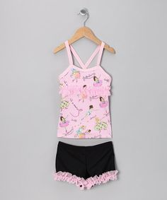Take a look at this Pink Ballerina Dance Tank & Shorts - Toddler & Girls   by Lexi-Luu Designs on #zulily today!