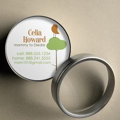 Celia {Mod Bird on Tree} - 50 CUSTOM Round Calling Cards/ Business Cards/ Tags in Tin by PoshGirlBoutique