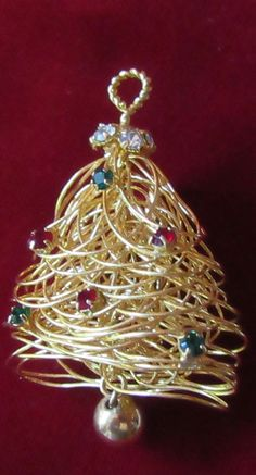 Vintage Beautiful Unique Rhinestone Gold Tone Spun Fat Wire Christmas Tree Pin | Jewelry & Watches, Vintage & Antique Jewelry, Costume | eBay!