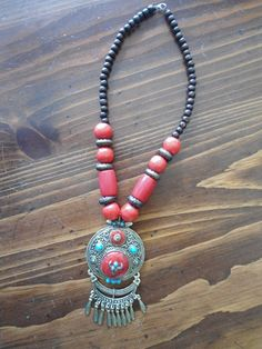 Boho Ethnic Tribal Style Red Chunky Tribal Boho Statement Necklace Ethnic by LandofBridget,  On Sale $15.00