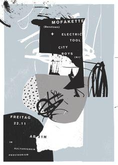 """atelier bingo - Création d'affiches de concerts pour la salle """"Kulturverein Provisorium"""" à Nürtingen en Allemagne Graphic Design Posters, Graphic Design Typography, Graphic Design Inspiration, Graphic Art, Illustration Design Graphique, Art Graphique, Graphic Illustration, Poster Art, Poster Layout"""