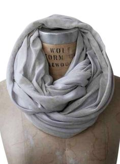 Pale Gray Striped Infinity Scarf