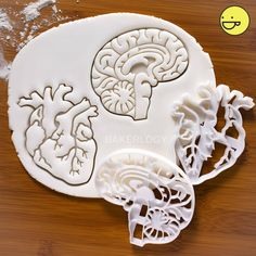 Promotional Set of Anatomical Heart & Brain cookie cutters! Heart Cookie Cutter, Heart Cookies, Cookie Cutters, Owl Cookies, Baby Cookies, Flower Cookies, Valentine Cookies, Easter Cookies, Birthday Cookies