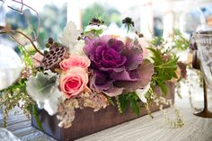 gorgeous floral arrangements. Kale, roses and dusty, oh the textures!