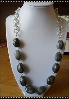 Silvia Jewellery of Style: Collana pietre grige e catena argentata brillante