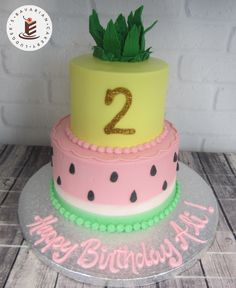 Stacked party cake with a fruit theme. 2nd Birthday Party For Girl, Fruit Birthday Cake, Watermelon Birthday Parties, 13th Birthday Parties, Fruit Party, Birthday Ideas, Tutti Frutti, Cata, Party Cakes