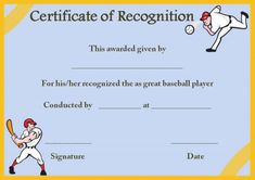 Certificate of Recognition Templates: Best Ideas and Free Samples - Demplates Certificate Of Recognition Template, Certificate Templates, Certificate Of Appreciation, Free Samples, Are You The One, Good Things, Baseball, Crafts, Ideas