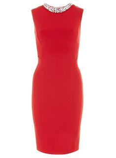 red embellished cut out pencil dress