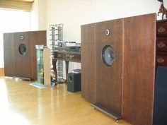 Vintage Goodmans 201 and Fostex FT17H in open baffles with hinged adjustable wings.