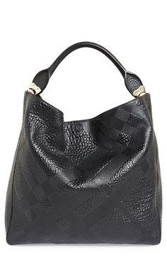 MY NEW Burberry 'Medium Lindburn' Check Embossed Leather Hobo! Stylish Handbags, Fashion Handbags, Purses And Handbags, Versace Handbags, Burberry Handbags, Burberry Bags, Canvas Handbags, Cute Bags, Vintage Handbags