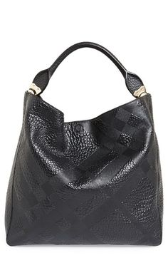 Free shipping and returns on Burberry 'Medium Lindburn' Check Embossed Leather Hobo at Nordstrom.com. Check-embossed grainy leather brands and adds understated sophistication to a slouchy hobo finished with logo-embossed goldtone hardware and hand-painted edges.