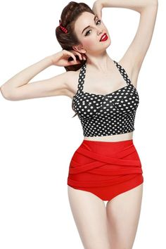 Contemporary Fashion Women's Summer Vintage Polka Dots Print Bikini Top + Bandage Bottom Swimsuit