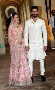 Newlyweds Shahid Kapoor - Mira Rajput married in a traditional Punjabi wedding attended by close family and friends. Wedding Lehnga, Wedding Sherwani, Bollywood Wedding, Bridal Lehenga, Wedding Dresses, Sherwani Groom, Wedding Hijab, Punjabi Wedding, Wedding Attire