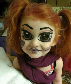Halloween makeup - I can already see Greg painting Em like this and scaring the shit out of me...