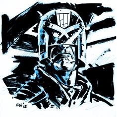 misterwalsh:    Judge Dredd Sketch. Did this today while watching along with the movie (which I really enjoyed).